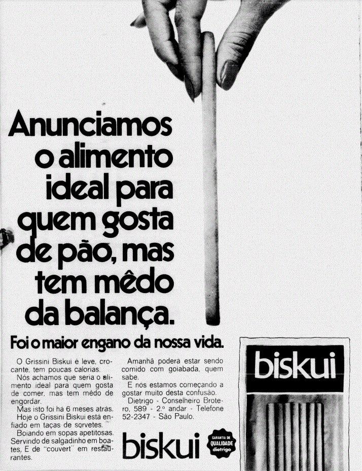 Propaganda antiga do lançamento do Biskui apresentado em 1968