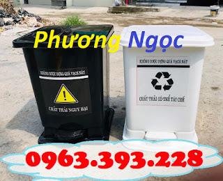 Thùng rác đạp chân y tế, thùng rác y tế nhựa HDPE, thùng rác bệnh viện TRYT3