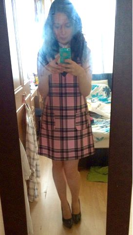 River Island Pink and black Tartan Dress Chelsea Girl Range Newlook