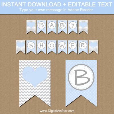 baby boy shower decorations printable baby blue and gray banner with chevron and polka dots