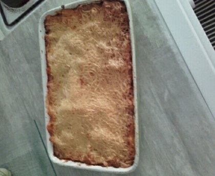 Lasagna with diced chicken and goat cheese