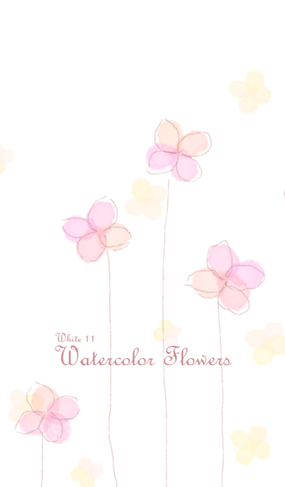 Watercolor Flowers/White 11