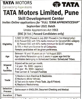 TATA Motors Limited Recruitment 10th Pass Candidates For Apprenticeship Training    Selection by Online exam