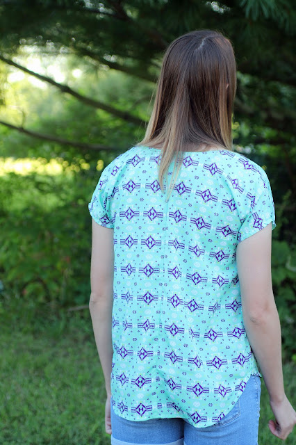 Lou Box Top from Indiesew in a polyester crepe de chine from Mood Fabrics