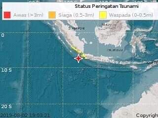 Banten Gempa 7,4 SR. Berpotensi Tsunami