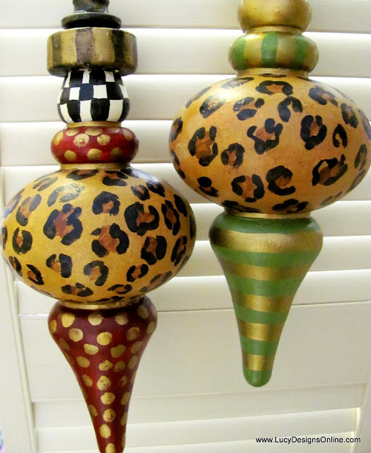 large finial style ornaments in animal print and stripes