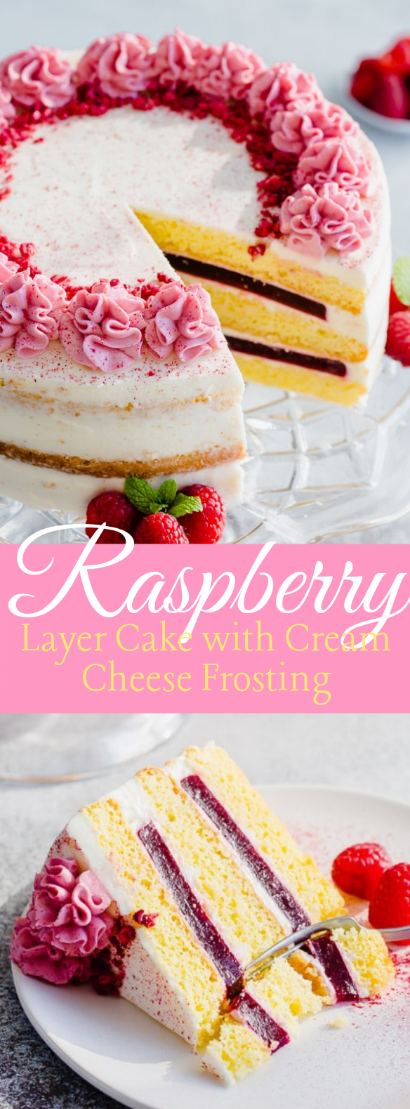 Raspberry Layer Cake with Cream Cheese Frosting #dessert #cake
