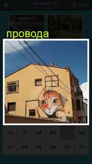 на улице к дому подведены провода и на стене граффити головы кошки
