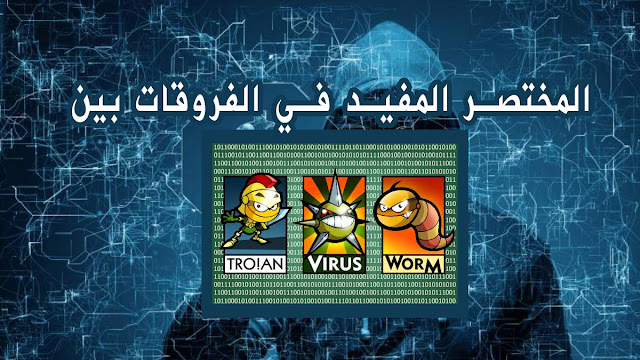 الفرق بين كل من virus و  worms  و Trojans