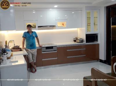 Tủ bếp đẹp chung cư nhà chị Việt - Geleximco Hà Nội
