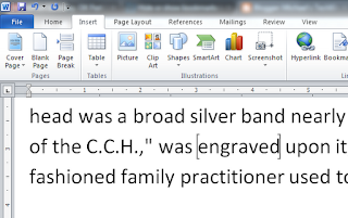 Word screen shot with grey square brackets