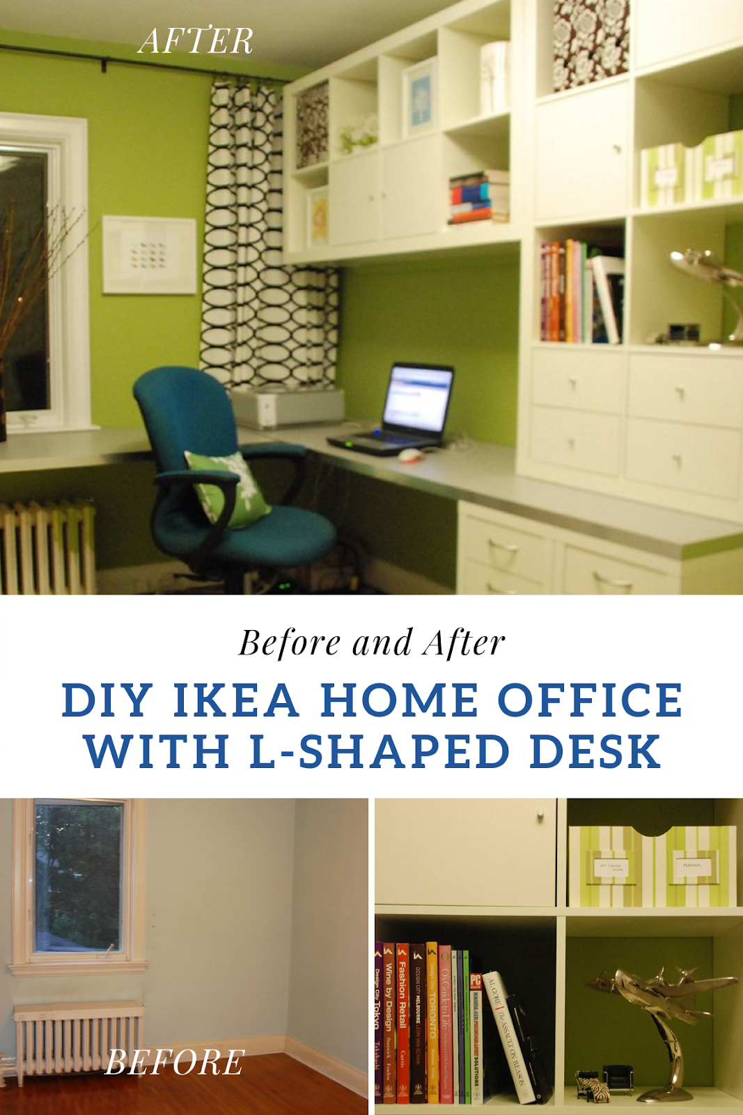 l shaped IKEA desk, home office for two, shared home office, home office with floating cabinets