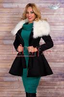 Palton dama negru cu blana alba (Escape)