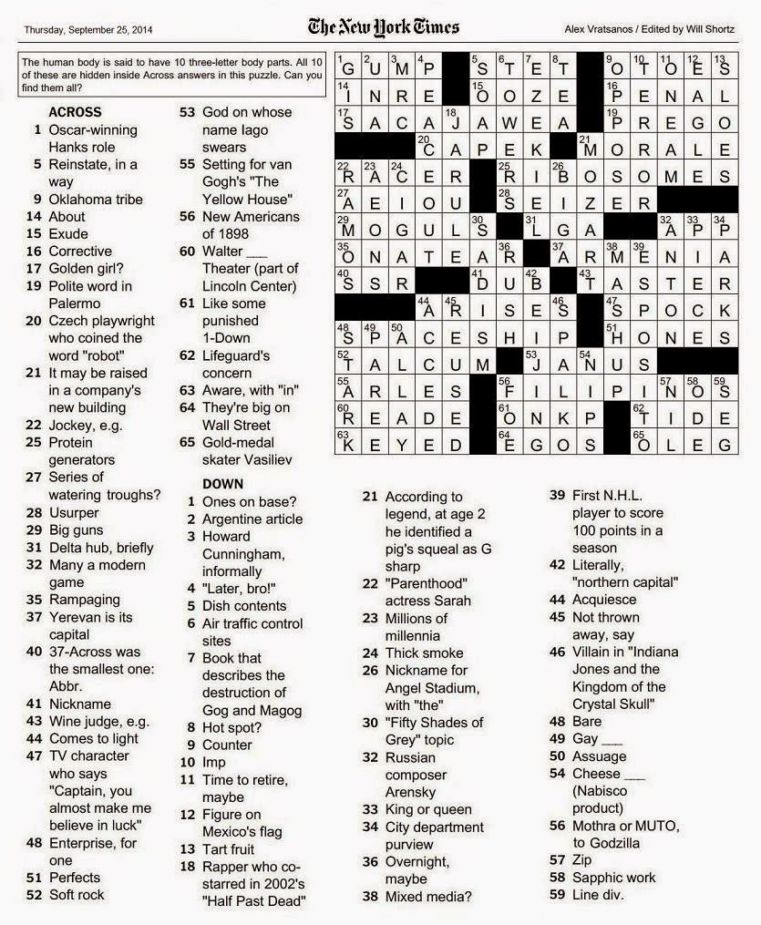 The New York Times Crossword in Gothic: 09.25.14 — Body Parts