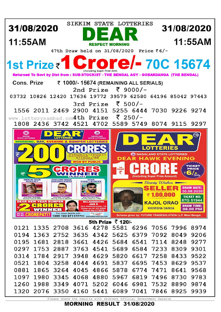 Lottery Sambad Today 31.08.2020 Dear Respect Morning 11:55 am