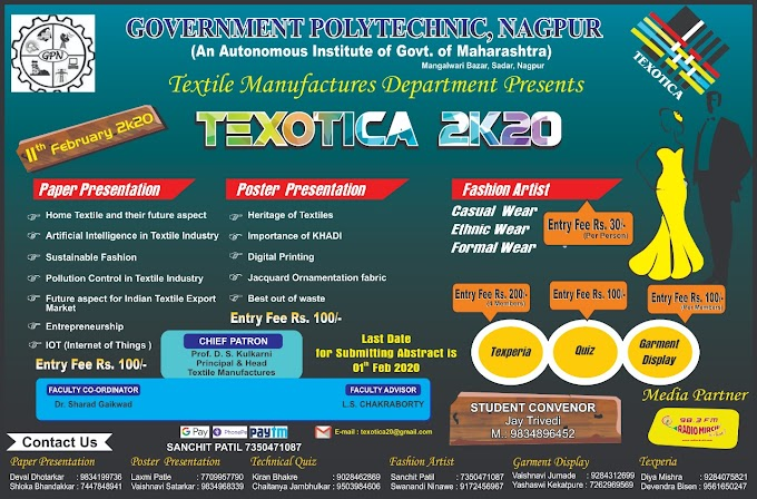 Texotica 2020 - An event by Department of Textile Manufactures Government Polytechnic Nagpur