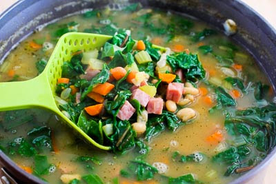 White Bean and Ham Soup with Chard found on KalynsKitchen.com