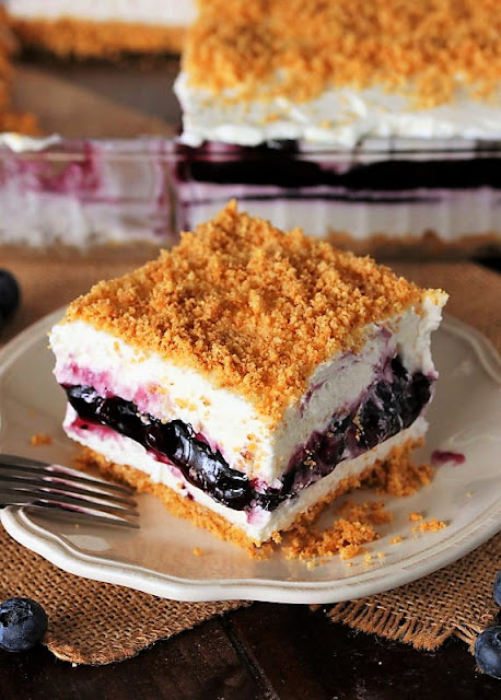 Piece of No-Bake Blueberry Yum Yum Image