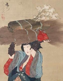 Oharame (detail) as painted by Hokusai.