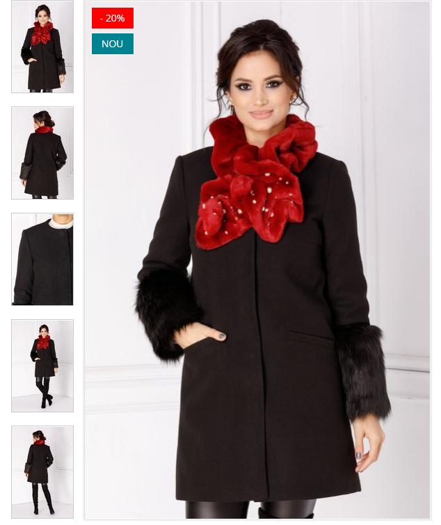 Palton dama din lana de iarna negru cu blanita la maneci ieftin
