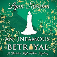 An Infamous Betrayal: A Regency Cozy audiobook cover. An elegant silhouette of a lady on a green and gold filigree background.
