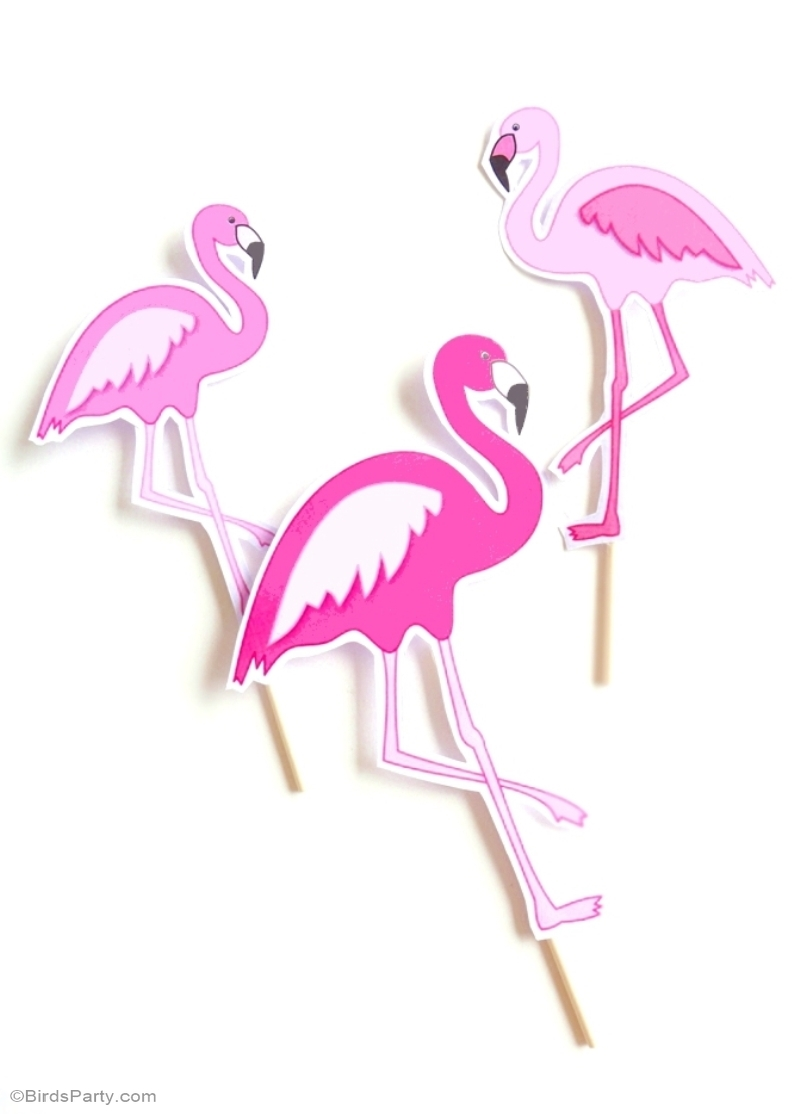 Ptintable Flamingo Cake Toppers - BirdsParty.com