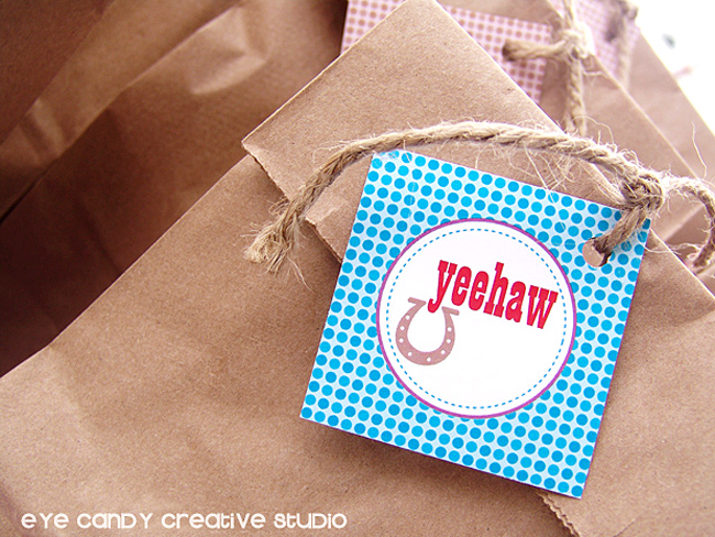 yeehaw favor bag topper, cowboy party ideas