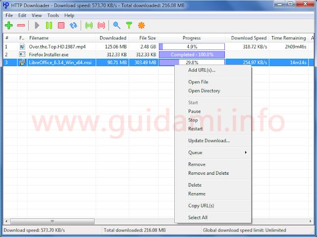 HTTP Downloader con menu contestuale di gestione dei download