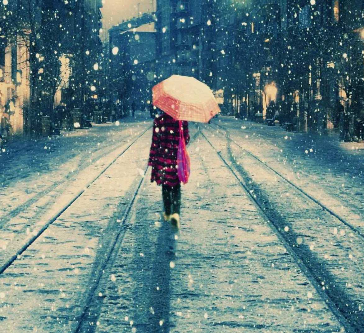 cute girl walking on rain at night profile dp