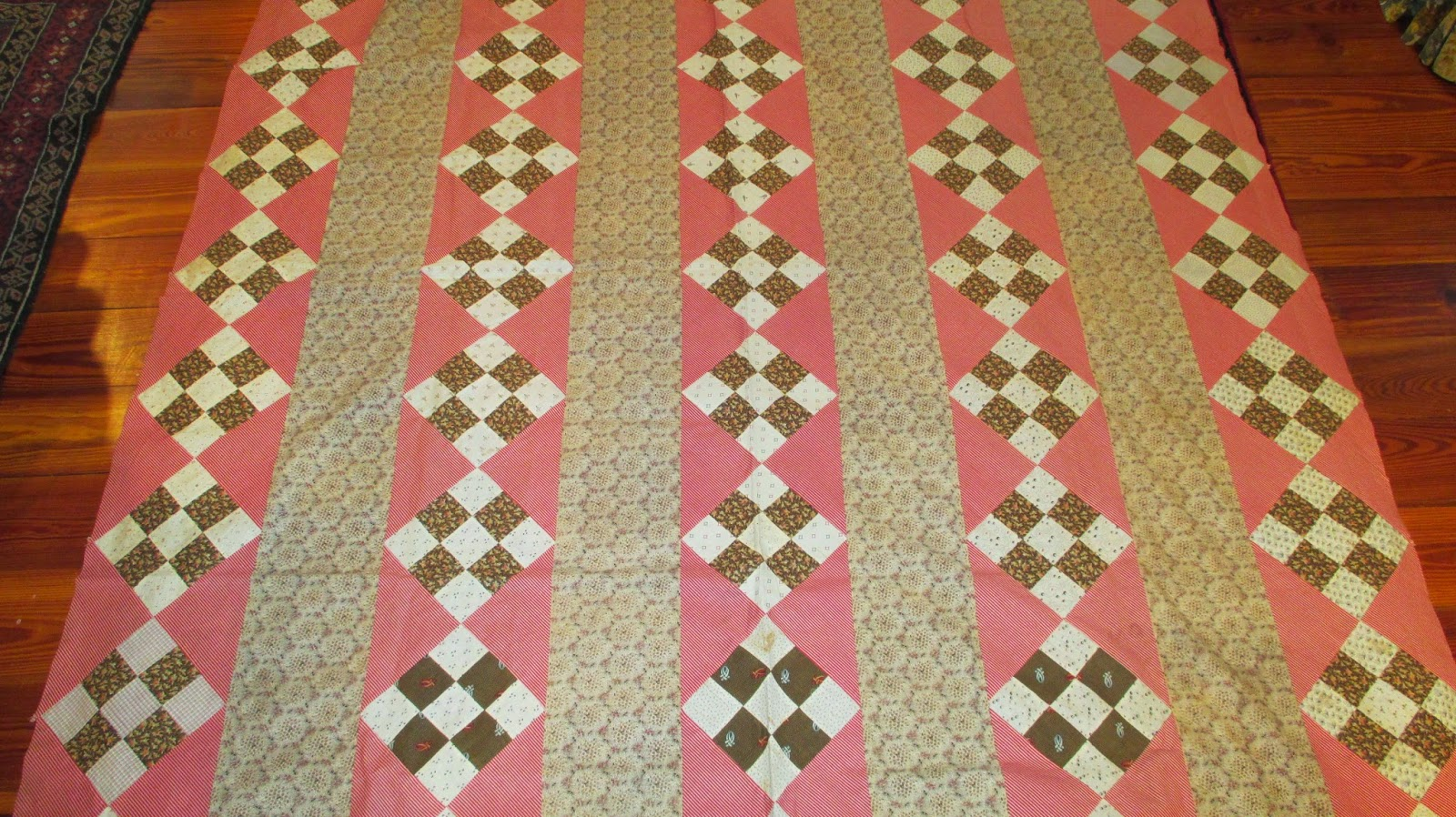 The Literate Quilter Two 19th C Nine Patch Quilt Tops And