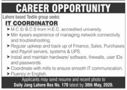 IT Coordinator Required in Daily Jang Newspaper