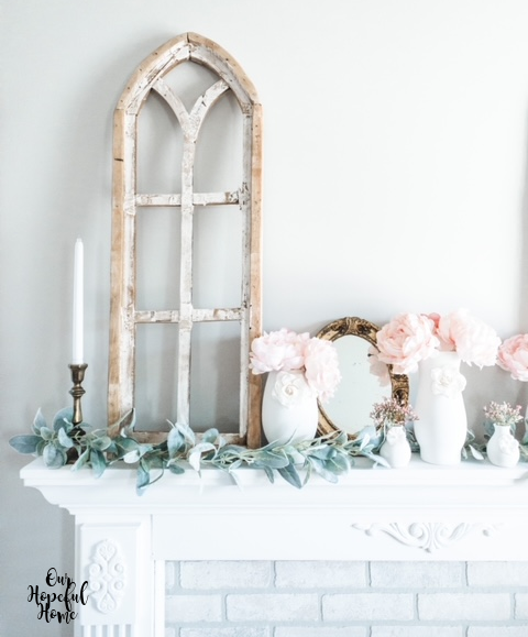 romantic shabby chic mantel gold French mirror candles arch garland