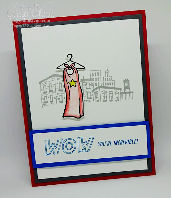 Here is a fun card for the incredible everyday hero in your life shared by Darla Olson at inkheaven
