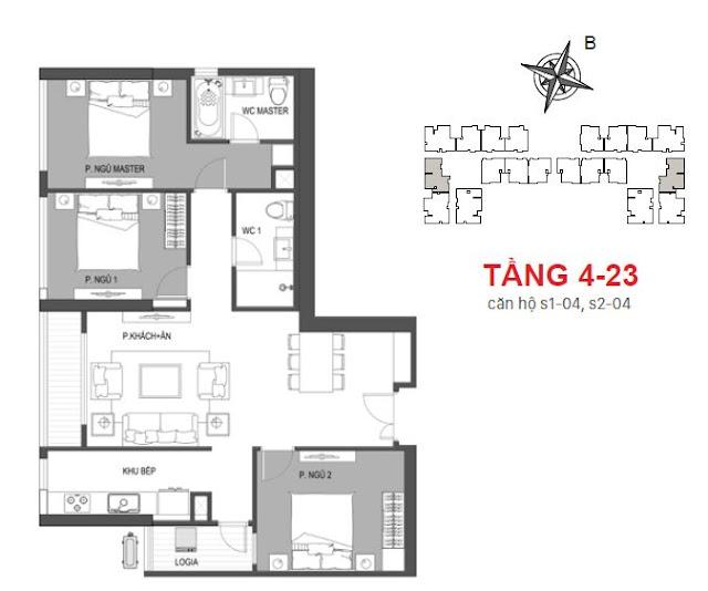 Căn hộ 04 tầng 4 - 23 tòa Sachi