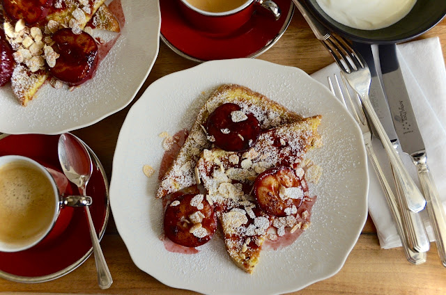 SPICED ROAST PLUM AND ALMOND FRENCH TOAST - OR: THE POOR KNIGHT NOT SO POOR NO MORE