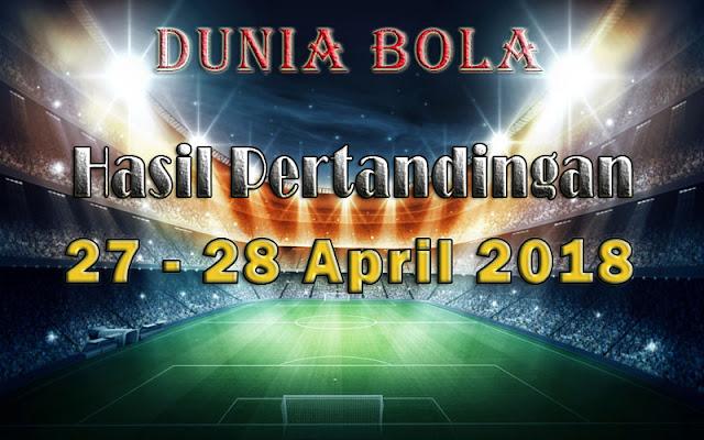 Hasil Pertandingan Sepak Bola Tanggal 27 - 28 April 2018