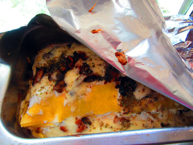 Cover lasagna with foil and bake in the oven