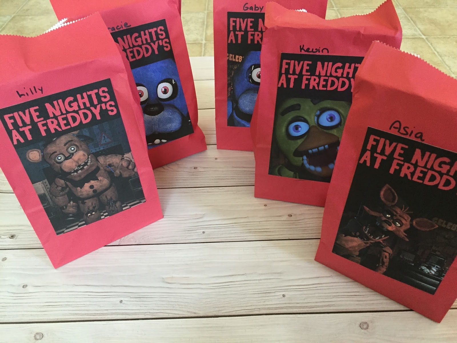 Ideas five nights at freddy party - Then i ordered some gift bags from etsy