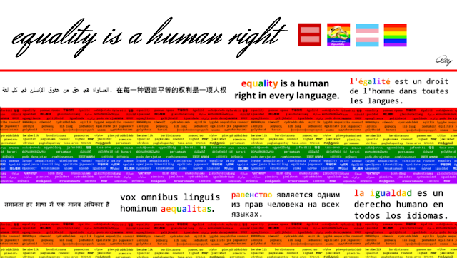 Equality is a human right in 8 languages (arabic, chinese, english, french, hindu, latin, russian, and spanish)