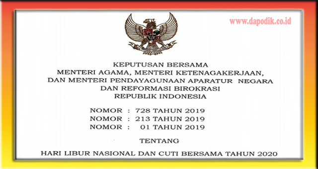 Jadwal Lengkap Hari Libur Nasional Dan Cuti Bersama Tahun 2020 Surat Keputusan Bersama