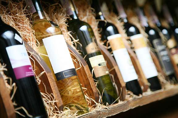 Wine bottles in a box