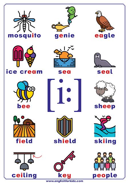 Long E sound words - printable chart, poster