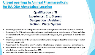 ITI Jobs Urgent Openings in for Assistant Post at Amneal Pharmaceuticals in Ahmedabad Location