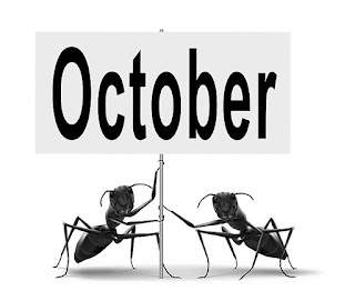 Two ants holding a pin in month of October