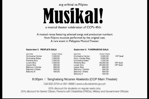 Musikal! (2014) A Musical Theater Celebration of CCP's 45th Anniversary It's been days, but I still ...