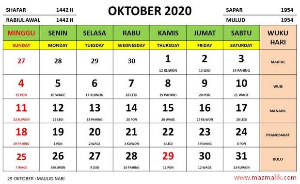 kalender tahun 2020, oktober