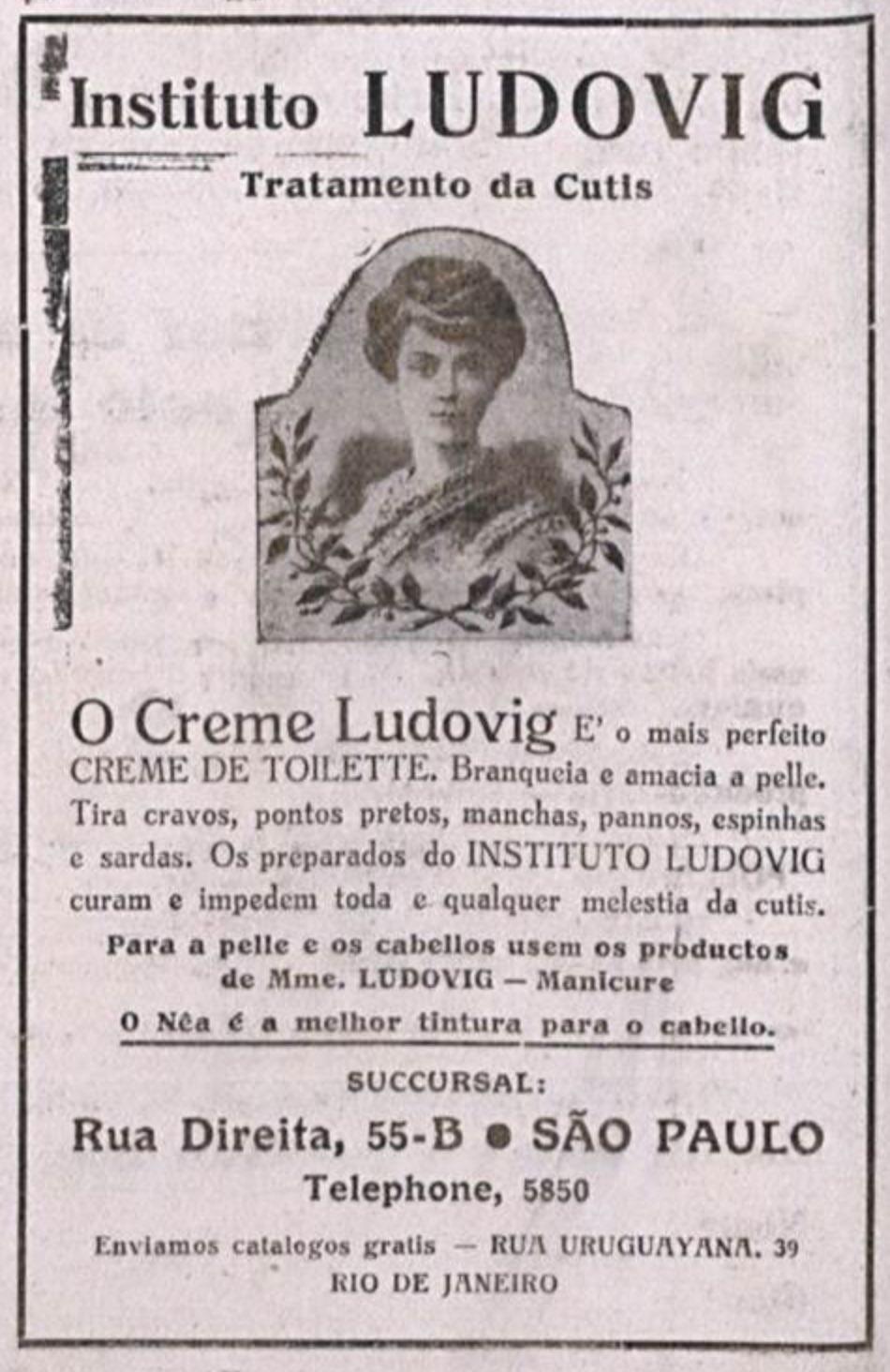 Anúncio antigo de centro de estética veiculado em 1922