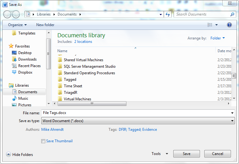 Student of Security: File Tags and Digital Forensics