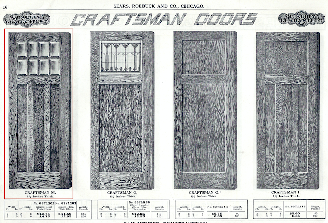 Sears Craftsman style doors offered in Sears Building Supplies catalog 1918