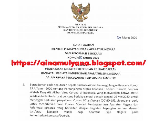 Surat Edaran (SE) Menpan Nomor 36 Tahun 2020
